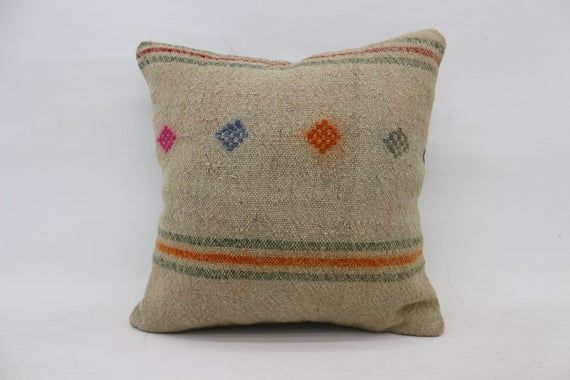 Turkish Kilim Pillow, 18x18 Rustic Pillow, Pillow Covers, Pink Pillow, Vintage Pillow, Patterned Pil