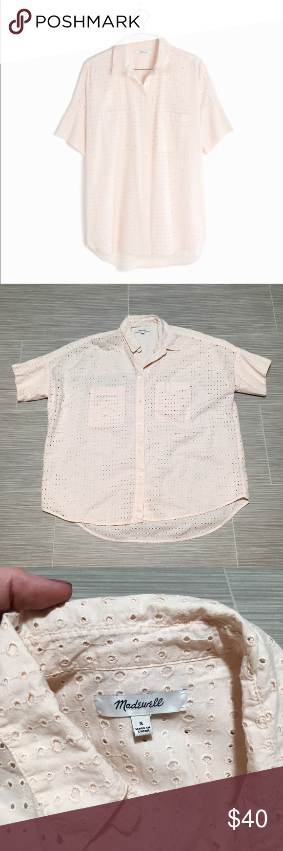 29b0c4d8 This button-down shirt features light pink / blush eyelet lace, short  sleeves, a slightly boxy shape, and a slightly oversized fit.