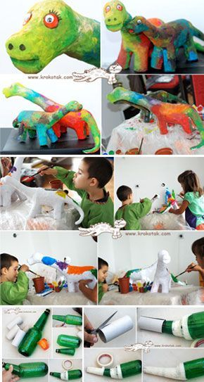 Papier Mache Dinosaurs How To Directions I Might Do Monsters So The Kids Have More Freedom In Th Paper Mache Crafts For Kids Dinosaur Crafts Dinosaur Projects