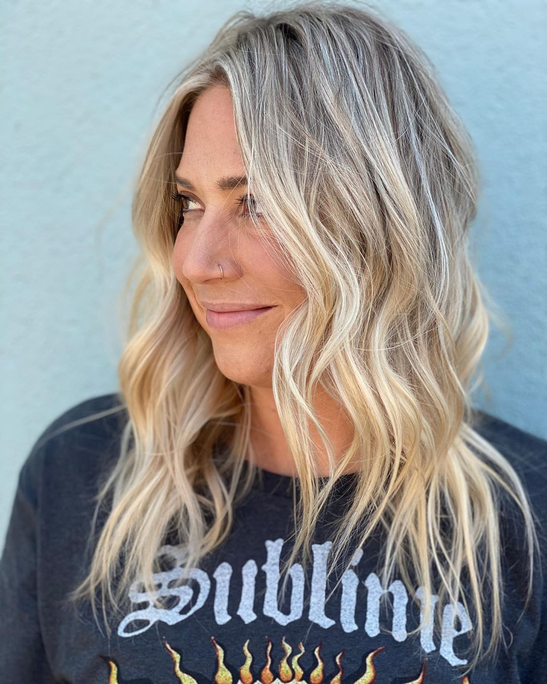 Isn't she so stinkin' cute?! I have the best clients! • • • • • #blonde #babylights #hairgoals #highlights #blondegoals #blondelife #livedinhair #livedinblonde #blowout #behindthechair #modernsalon #softblonde #allthingspretty #crafthairdresser #modernsalon #behindthechair #goldwell beautyobsessed #discoverunder100k #discoverunder10k #feelpretty #dailylifestyle #prettylittleinspo #getthelook #dailystyle #dailylivestyle #makeyousmilestyle #liveunscripted #theeverygirl #flashesofdelight #thehappyn