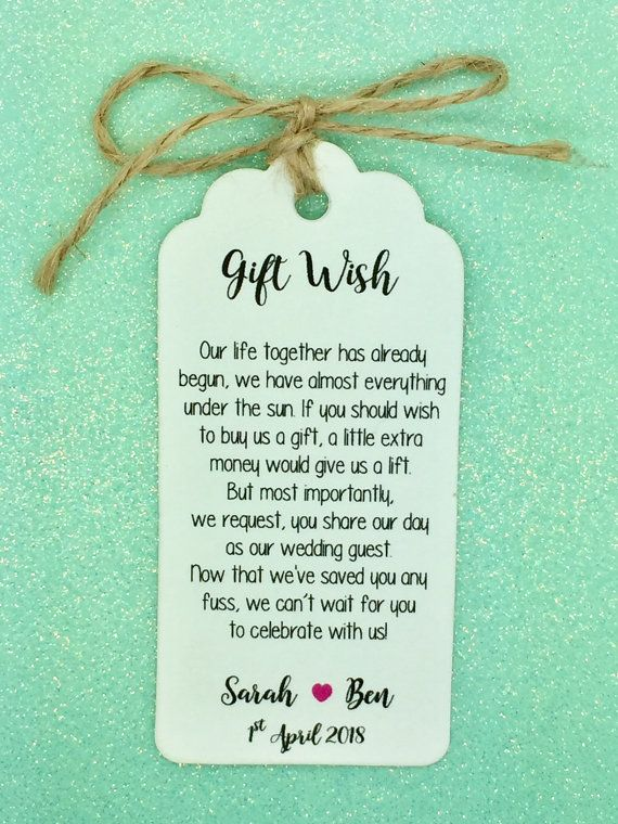 Personalised Wedding Gift Wish Money Request Poem Card Favour