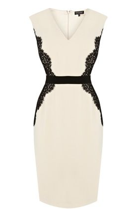 Lace Overlay Pencil Dress - has really beautiful lace detailing down the center back
