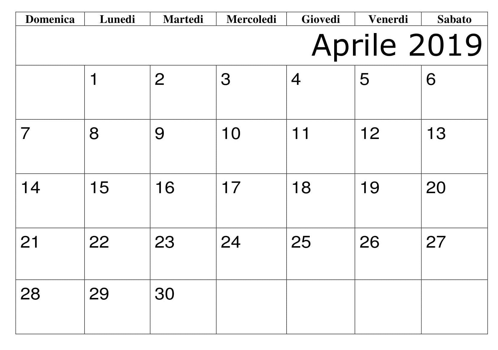 Modelli Calendario 2019.Aprile Calendario 2019 Modello Calendario Aprile 2019 Da