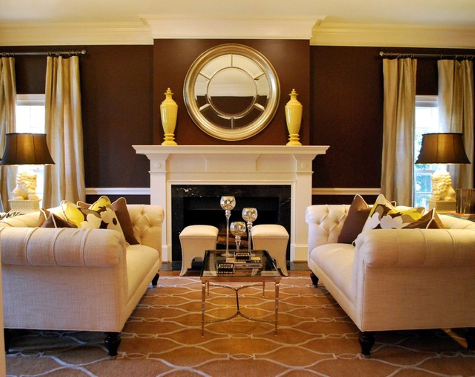 Warm Colors Two Sofas Pattern Rug Ottomans Symetrical Transitional Style Formal Living Rooms Transitional Living Rooms Brown Living Room #warm #traditional #living #room