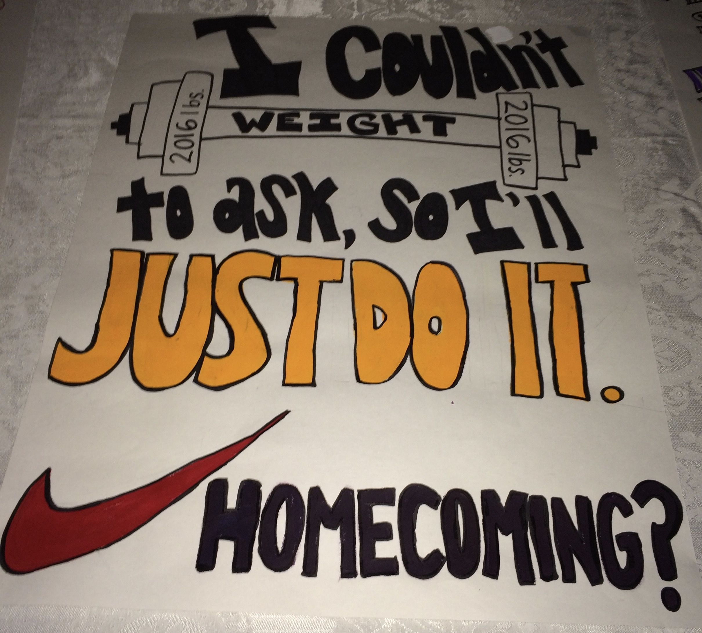 gym nike weight lift promposal prom homecoming dance ask sign idea #singleprompictures #homecomingproposalideas