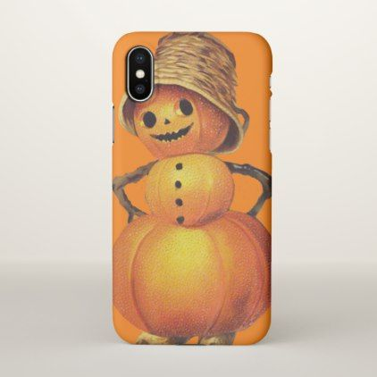 Pumpkin Snowman Orange Smiling iPhone X Case - Halloween happyhalloween festival party holiday