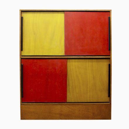 Mid-Century Bücherschrank in Rot \ Gelb, 1960er Jetzt bestellen - wohnzimmer rot gelb