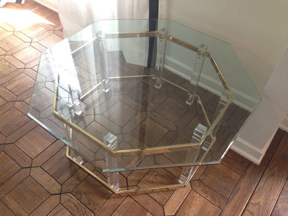 Octagon Glass Brass And Lucite Coffee Table By SoignebyEG On Etsy, $340.00