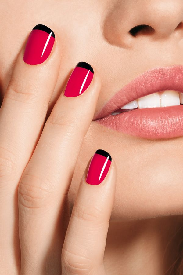Red Nails W Black Tips Trendy Nails Prom Nails Pink Nails