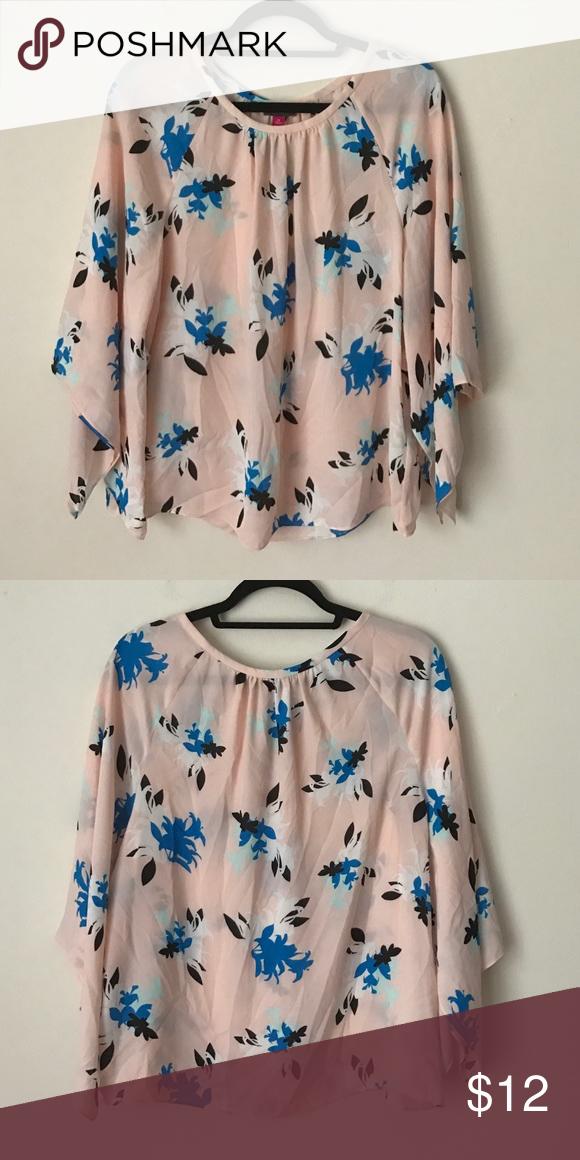 Vince Camuto Floral Blouse Pink Blue My Posh Closet
