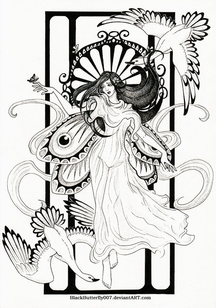 Art nouveau mucha black and white art nouveau by si3art