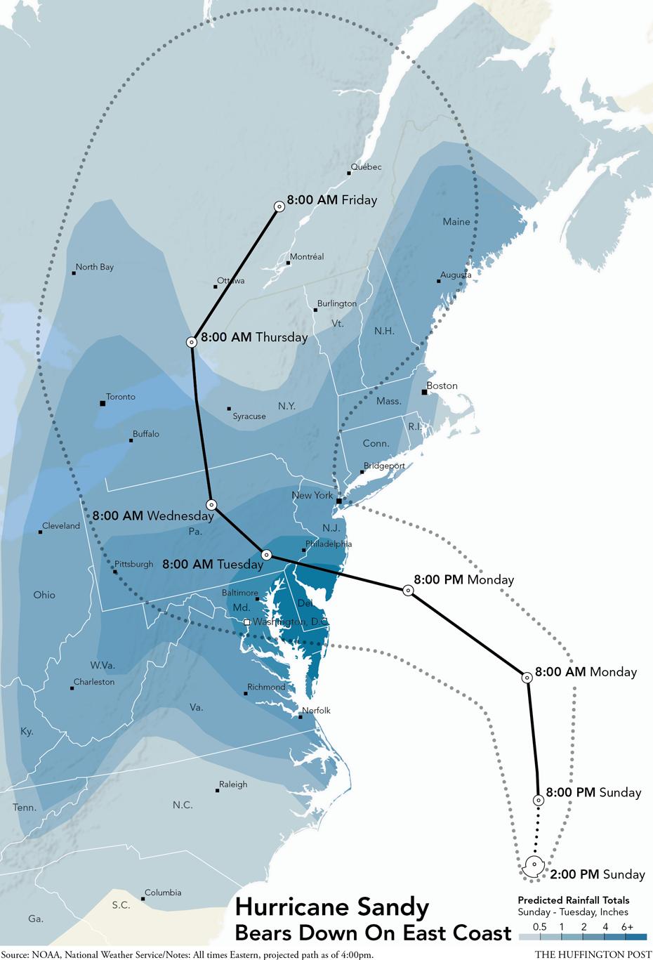 Infographic When And Where Sandy Will Strike Hurricane Sandy Hurricane Map