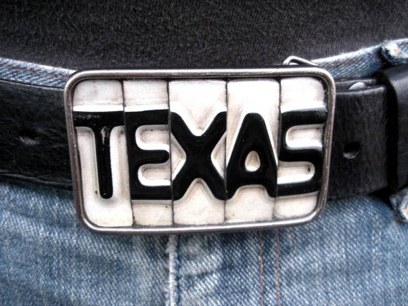 Texas Belt Buckle Recycled License Plates