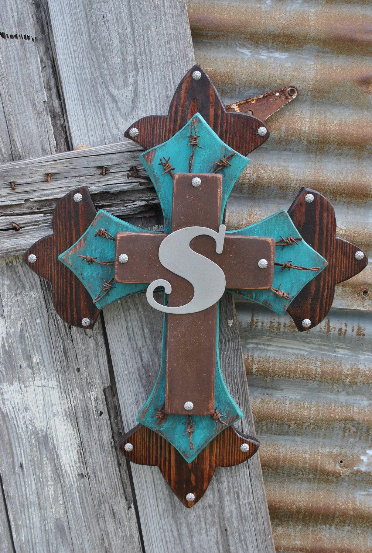 Western Wood Wall Decor : Initial western wooden wall cross by sparkleyspur on etsy