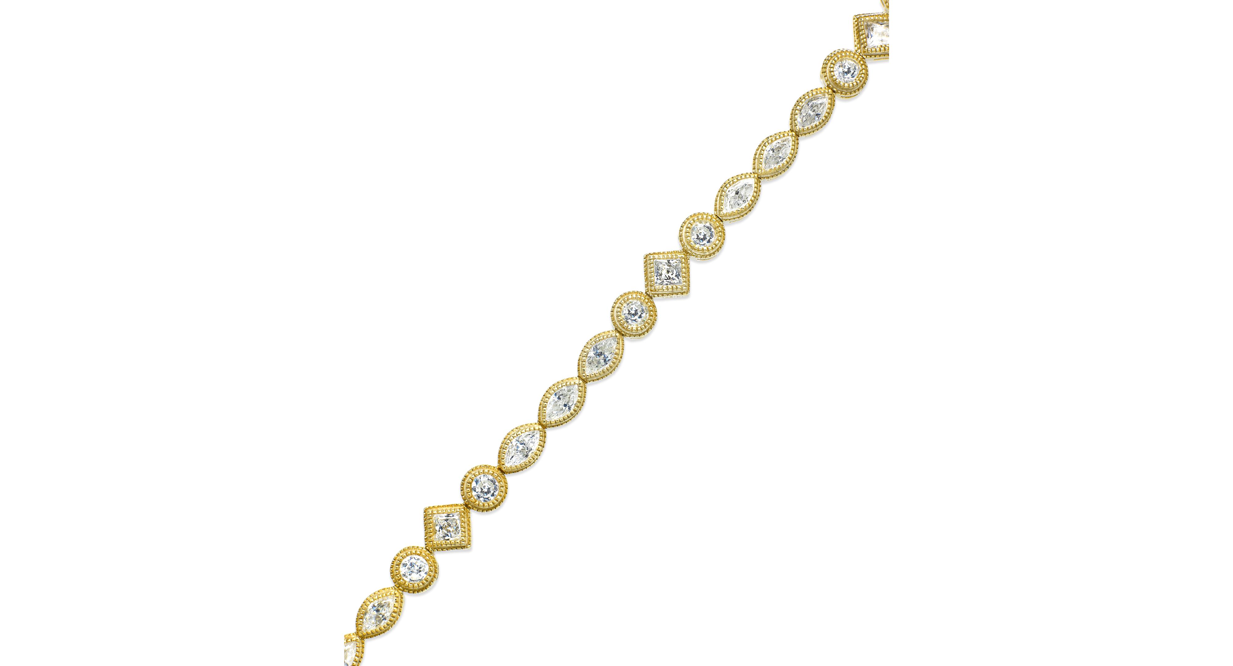 B. Brilliant Cubic Zirconia Multi-Shape Bracelet in 18k Gold over Sterling Silver (4 ct. t.w.)