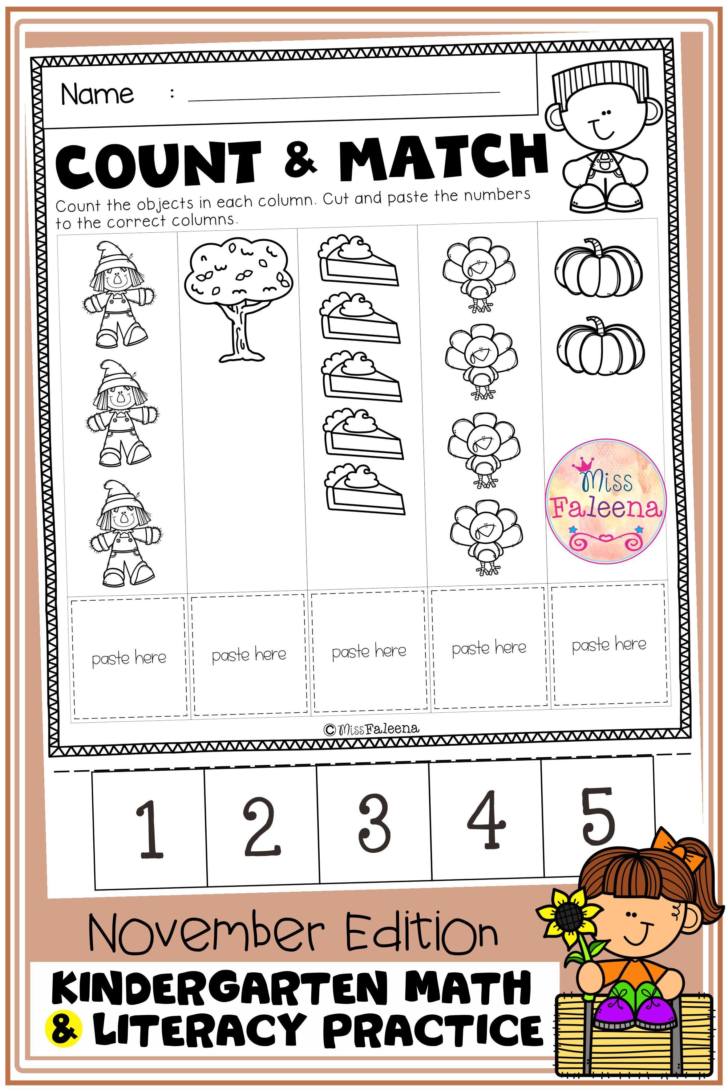 November Kindergarten Math And Literacy Practice Kindergarten Math Literacy Practice Elementary Math Lessons [ 3544 x 2364 Pixel ]