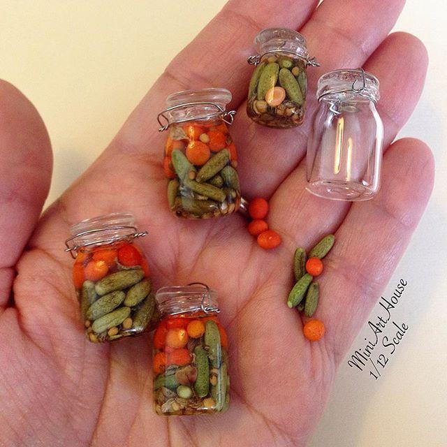 Canning vegetables 1 12 scale clay and miniatures - Kleinigkeiten basteln ...