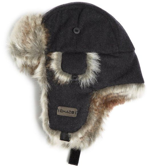 099c50fa28c Amazon.com  Chaos Men s Dylon Wool Blend Trapper Hat (Heather Black ...