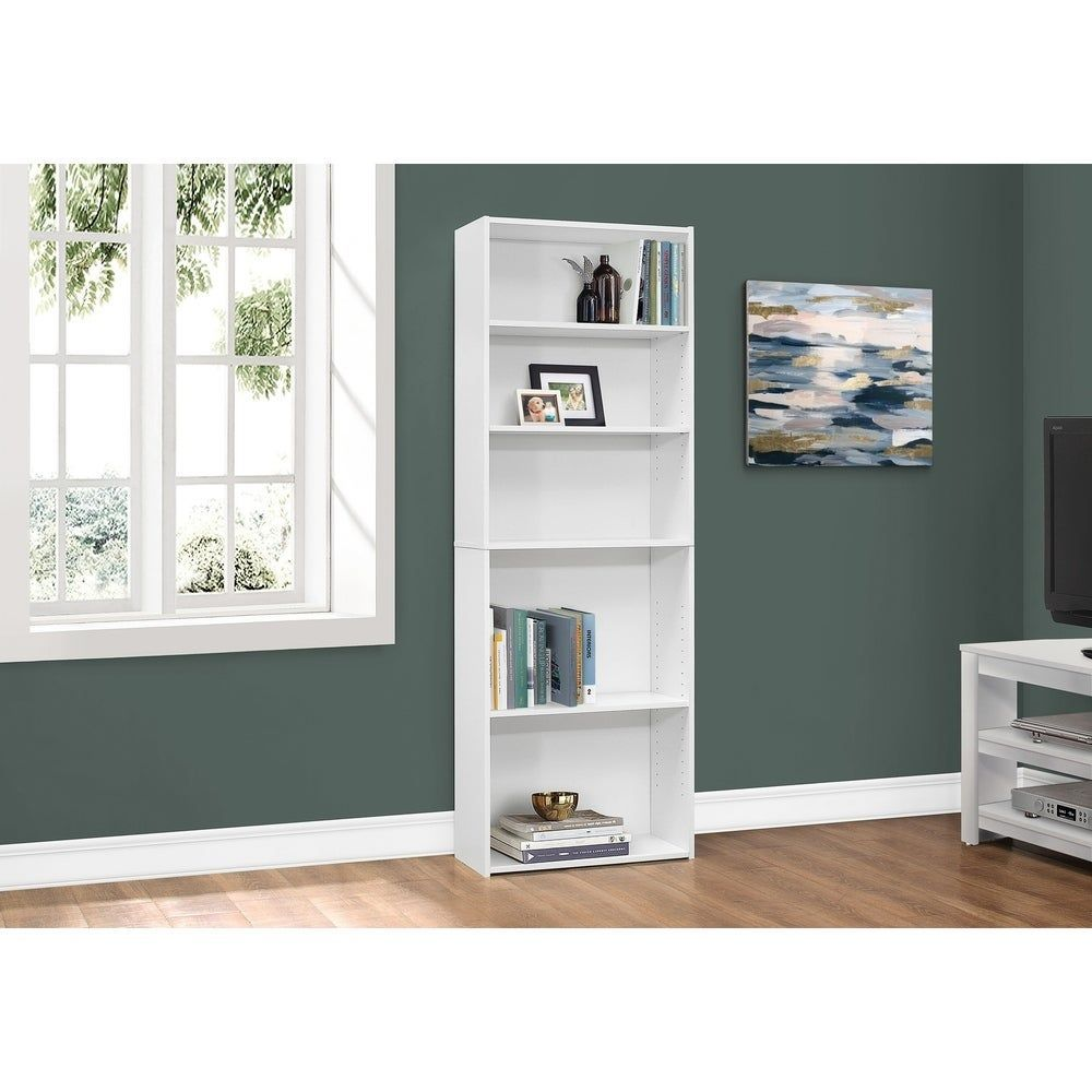 Bookcase  72H / White With 5 Shelves  - Shelf Bookcase - Ideas of Shelf Bookcase #ShelfBookcase