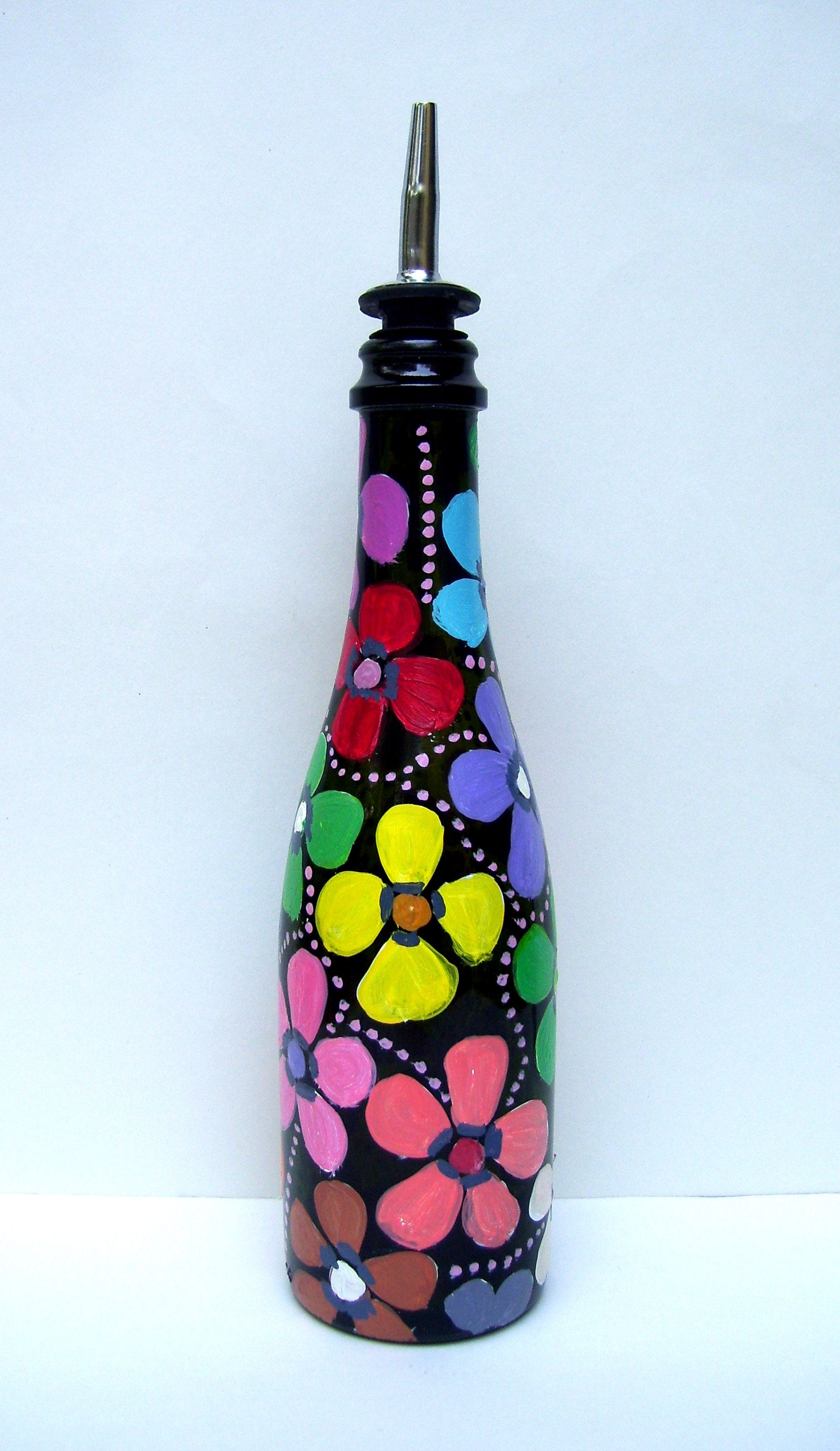 hand painted dispenser from bottles not empty - How To Paint Glass Bottle