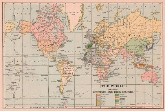 Old 1920\'s World Map Vintage Art Image Instant by downloads ...