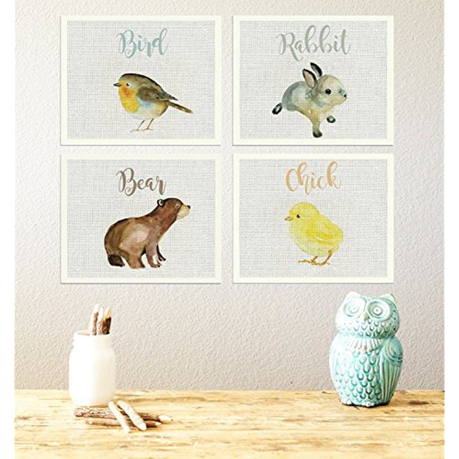 Baby animal collection set of four x inch canvas wall art