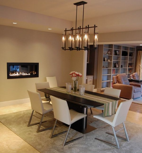 httpcdndecoistcomwp contentuploads201311chandelier above the dining table complements the fireplace stylishlyjpg pinterest - Chandelier Over Dining Table