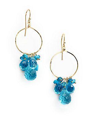 NuNu Mixed Cluster Drop Hoop Earrings/Blue