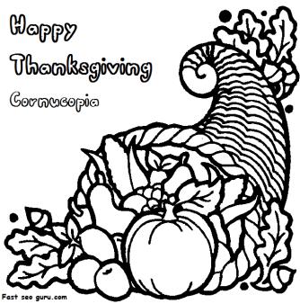 Printable Thanksgiving Cornucopia Coloring Page