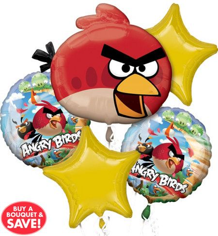 Angry Birds Movie Game Birthday Party Decoration Mylar Foil Balloon Bouquet