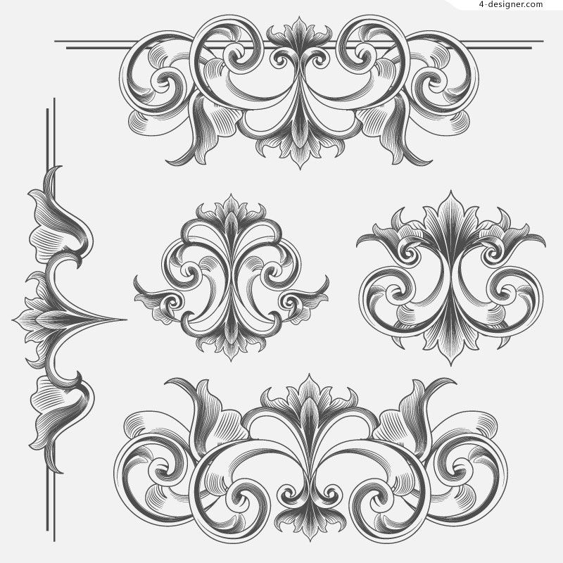 4 Designer Victorian Style Decorative Patterns Vector Material