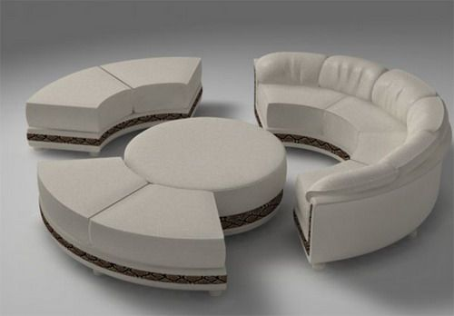 Round Sofa With Semi Sectional Model