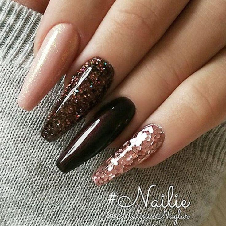 Fall nails Brown glitter nails Ballerina nails Acrylic nails  Fall nails Brown glitter nails Ballerina nails Acrylic nails