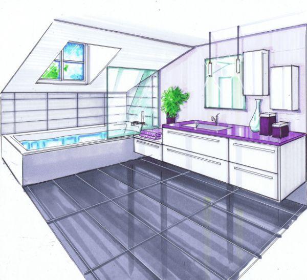 Salle de bains en sous pente salle de bains pinterest for Dessin salle de bain