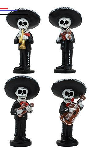 Ebros 4 Tall Fiesta Squad Day Of The Dead Skeleton Mariachi Band Statue Set Of 4 Violin Guitarron Guitar And Trumpet Pla Mariachi Band Mariachi Trumpet Players