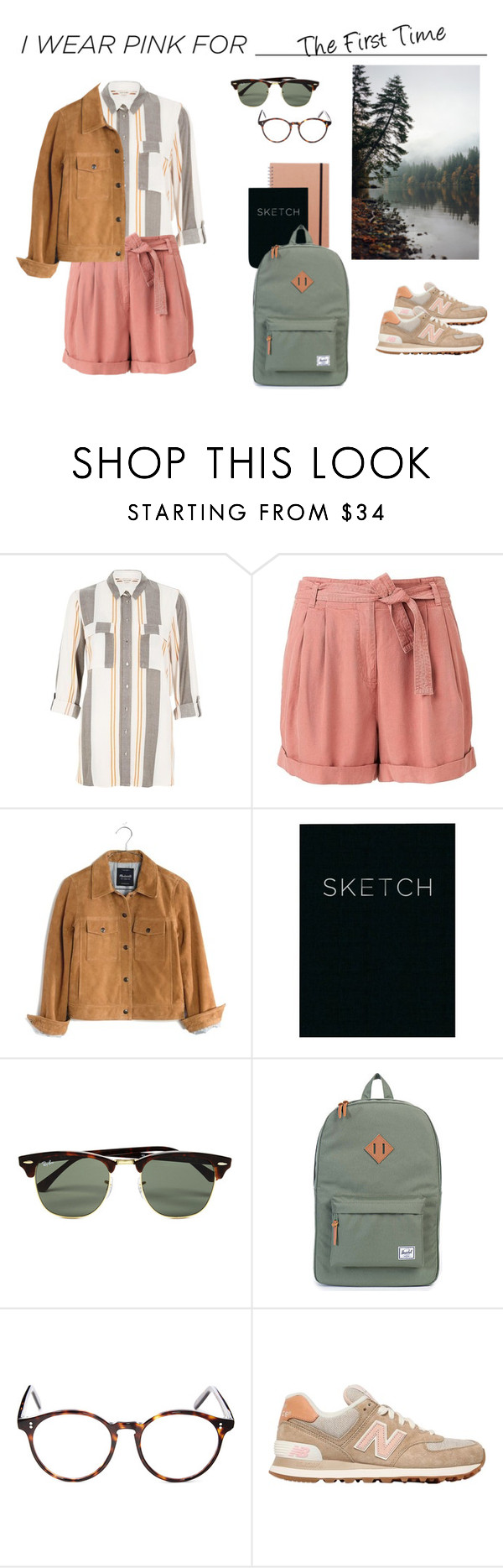 """""""Pink for excursion"""" by anataliaf ❤ liked on Polyvore featuring River Island, Witchery, Madewell, Ray-Ban, Herschel Supply Co., Cutler and Gross, New Balance and country"""