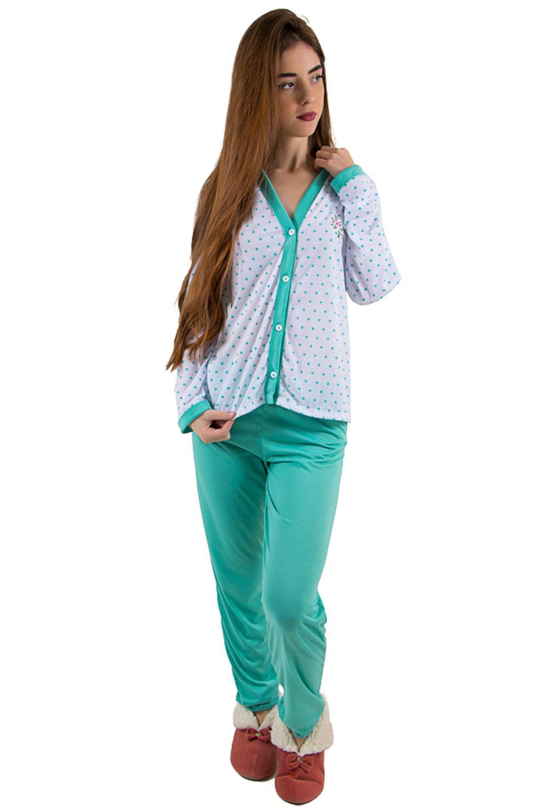 566257a8ac8e6a Pijama Linha Noite Longo Verde Piscina com Estrela | Products ...