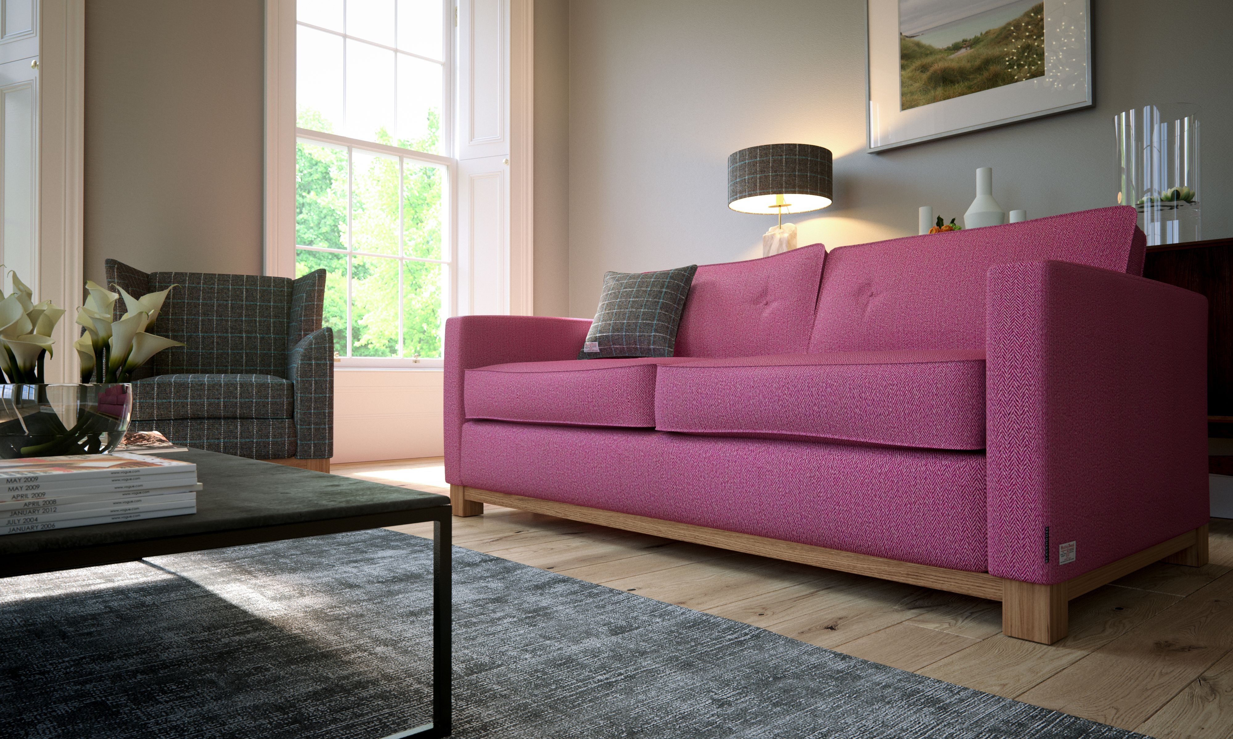 Attrayant The Blackhouse Waverley Sofa In The Stunning Plum Herringbone Harris Tweed.