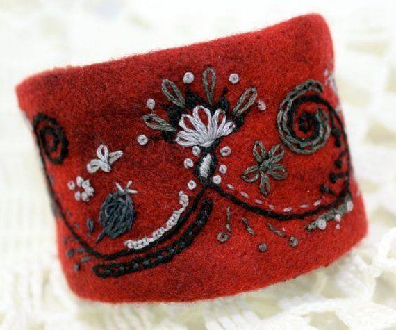 Hand Embroidery Fabric Textile Wrist Cuff Garnet by Waterrose, $82.00