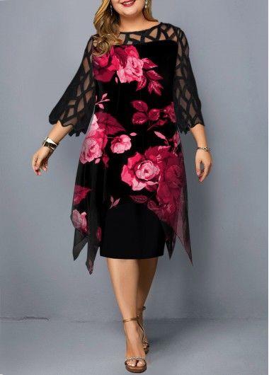 Plus Size Dresses Lace Panel Flower Print Plus Size Dress Plus Size Maxi Dresses Plus Size Dresses Plus Size Dress