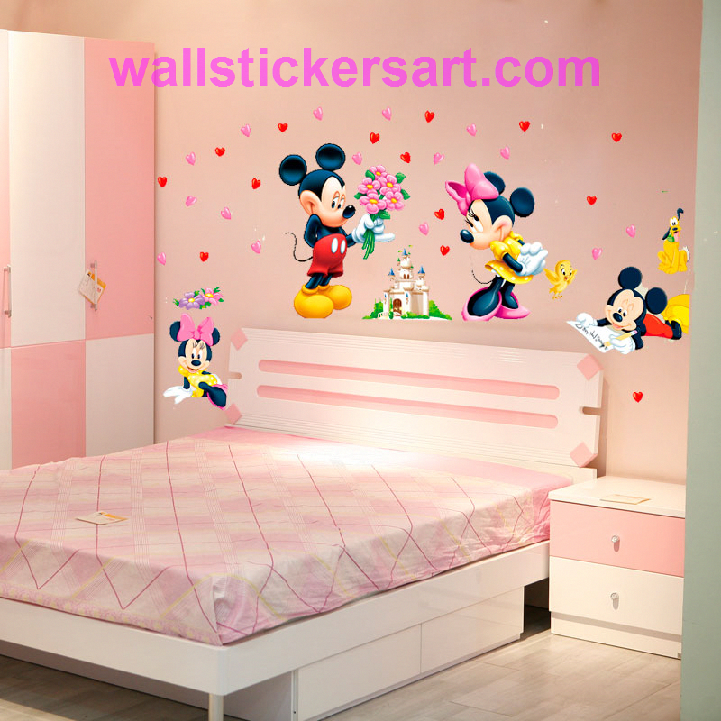 Cartoon Mickey Minnie Mouse Wall Sticker For Kids Room Baby Wall