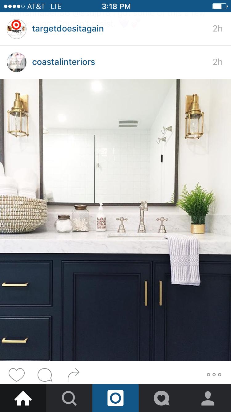 Girls Bathroom Color Scheme Navy Brass Black White Bathroom Renos Navy Bathroom Bathrooms Remodel