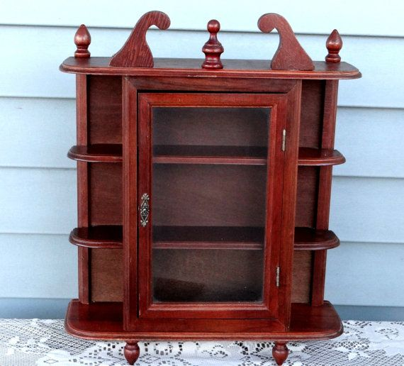 Vintage Wood Curio Cabinet Wall Mount Or Free Standing 1960s
