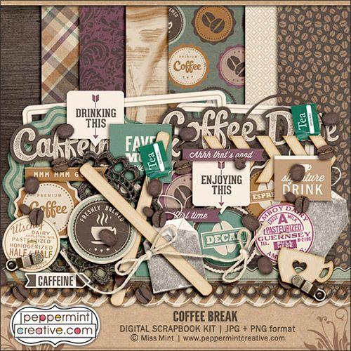Quality DigiScrap Freebies: Coffee Break full kit freebie from Peppermint Creative