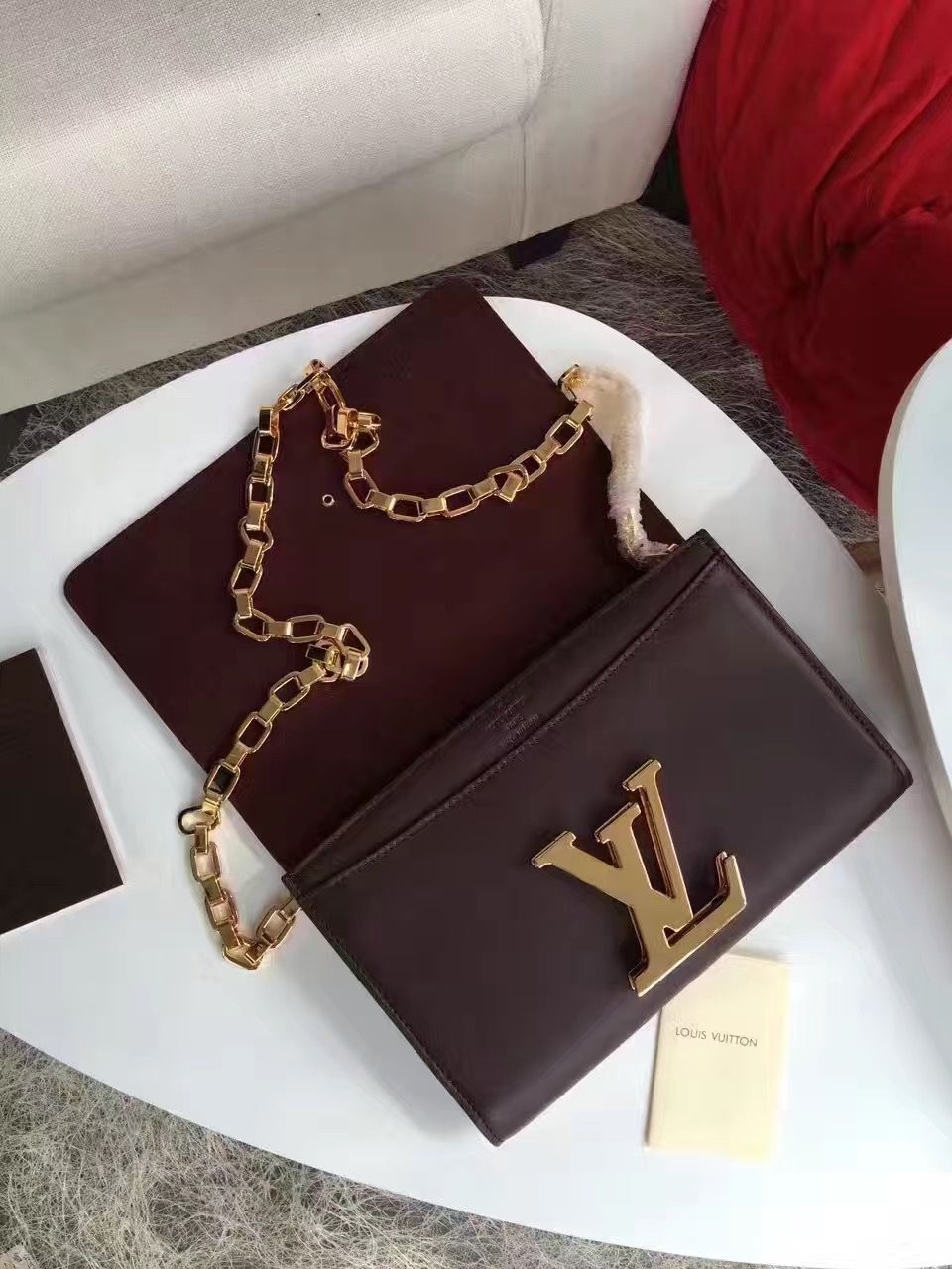 f390de2d494 Louis Vuitton Calfskin Chain Louise GM Clutch Bag Burgundy
