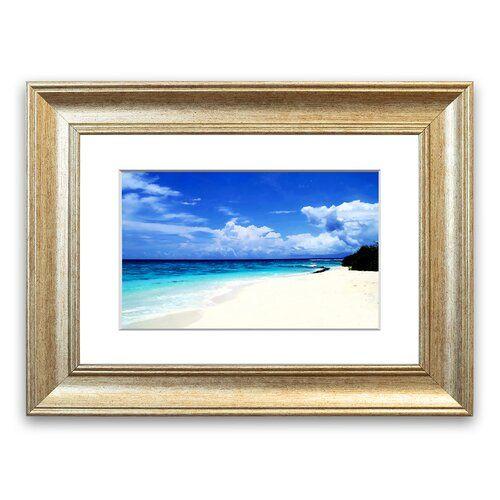 East Urban Home Gerahmter Fotodruck Weißer Sand am Strand der Paradiesinsel | Wayfair.de