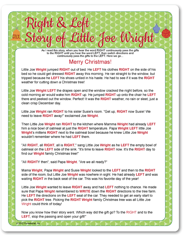 the Christmas left right game (w/printable story) - It's ...