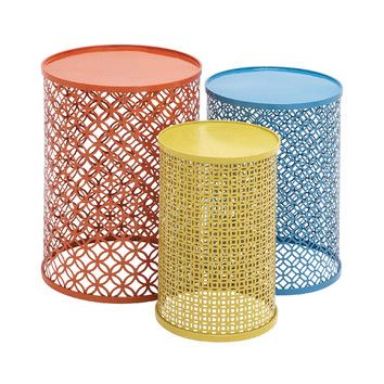 Awesome Woodland Imports 3 Piece Colorful End Tables Set