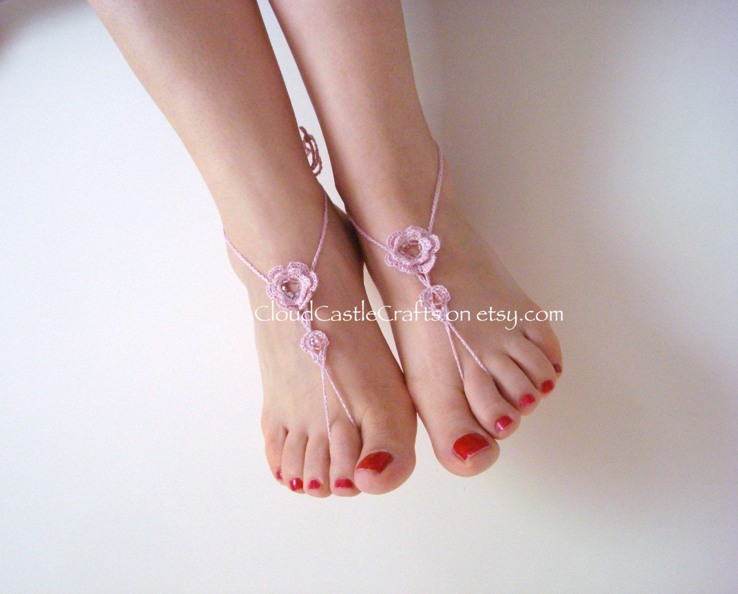 Beach Wedding Barefoot Sandals Crochet Bare Foot Wear Accessories Shoes With Beads