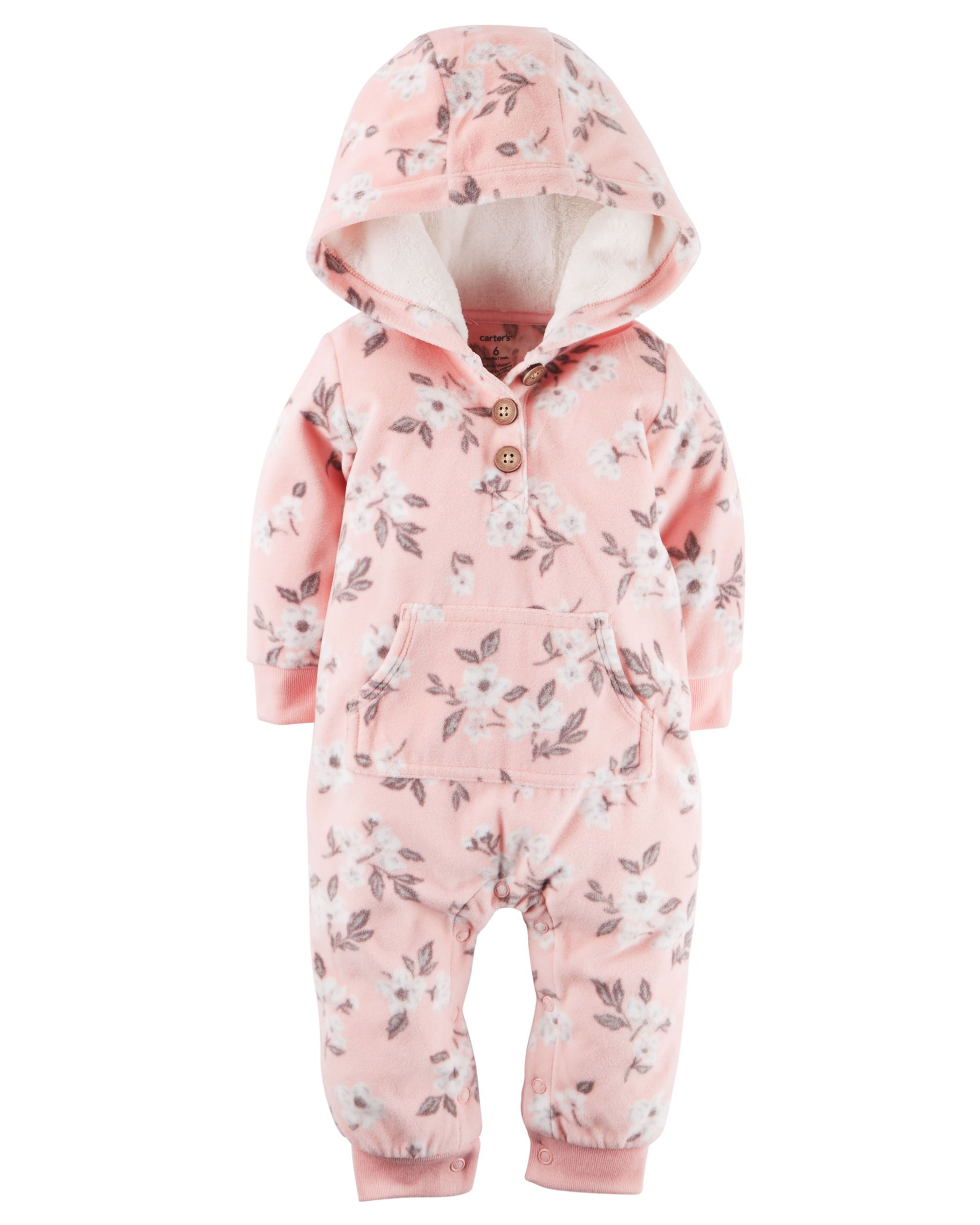 9e79a1451cde Baby Girl Hooded Fleece Jumpsuit